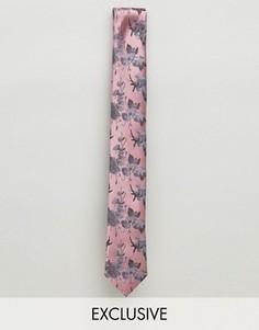 Жаккардовый галстук с цветочным узором Noose & Monkey - Розовый