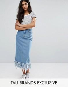 Джинсовая юбка миди с бахромой по низу Daisy Street Tall - Синий