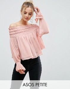 Топ с открытыми плечами и сборками ASOS PETITE - Розовый