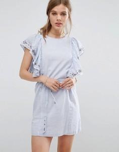 Джинсовое платье с оборками Suncoo - Синий