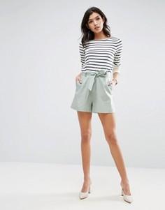 Льняные шорты с ремнем ASOS - Зеленый