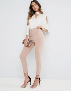 Облегающие брюки с завышенной талией ASOS - Stone
