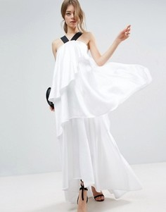 ASOS WHITE Layered Frill Maxi Dress With Strap Detail - Белый