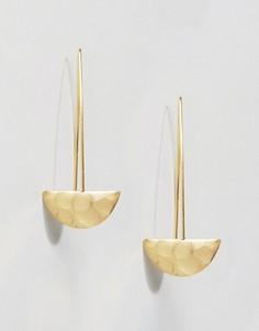 Золотистые серьги-протяжки Ottoman Hands - Золотой