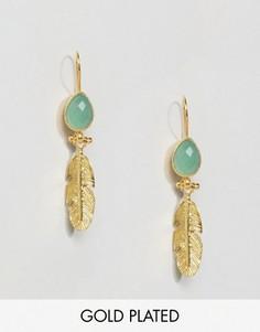 Серьги-подвески с пером и камнем Ottoman Hands - Золотой
