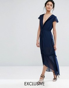 Платье миди с оборками на рукавах True Decadence - Темно-синий