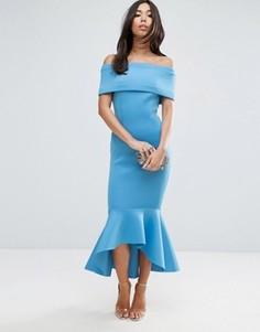 Платье миди с баской ASOS PREMIUM - Синий