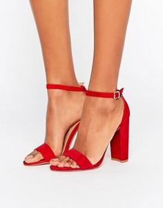 Замшевые сандалии на блочном каблуке Steve Madden Carrson - Красный