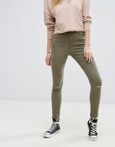 Зауженные джинсы с рваной отделкой Missguided Sinner Authentic - Зеленый