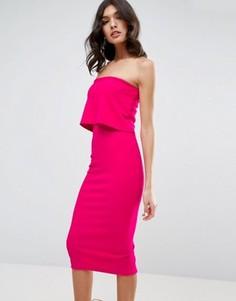 Облегающее платье миди с кроп-топом ASOS - Розовый