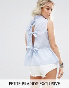 Рубашка с баской и бантами на спине Glamorous Petite - Синий