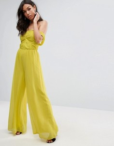 Шифоновый комбинезон бандо с открытыми плечами ASOS - Желтый