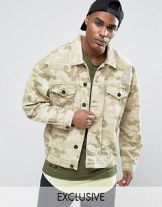Состаренная джинсовая куртка с камуфляжным принтом Cayler & Sons - Бежевый