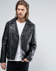 Черная кожаная байкерская куртка ASOS - Черный