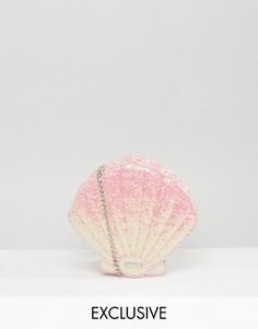 Эксклюзивная сумка через плечо в форме ракушки с блестками Skinnydip - Розовый