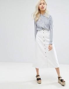 M.i.h Jeans Full Length Button Through Denim Skirt - Белый