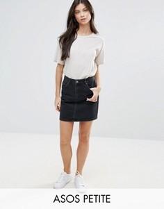 Черная джинсовая юбка с завышенной талией ASOS PETITE - Черный