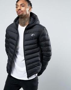 Черная дутая куртка с капюшоном Gym King - Черный