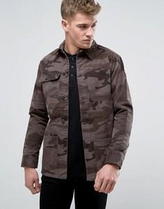 Выбеленная джинсовая куртка камуфляжной расцветки Brave Soul - Зеленый