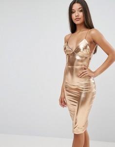 Платье миди с оттенком металлик Club L - Золотой