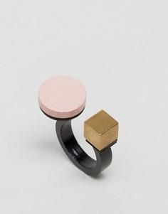 Кольцо с кругом и кубом Wolf & Moon - Розовый