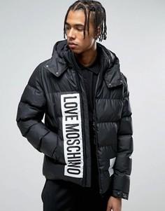 Дутая куртка с капюшоном Love Moschino - Черный