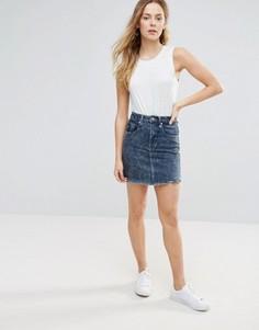 Джинсовая мини-юбка с эффектом кислотной стирки Brave Soul - Синий