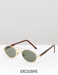 Круглые солнцезащитные очки с планкой сверху Reclaimed Vintage - Золотой