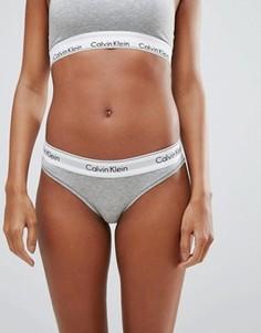 Хлопковые плавки-бикини Calvin Klein - Серый