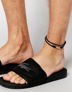 Черный кожаный браслет на ногу ASOS - Черный