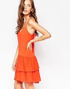 Платье мини с оборками в несколько рядов BCBG Generation - Красный
