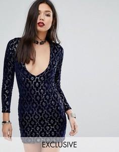 Платье мини с глубоким декольте и отделкой пайетками Motel - Синий