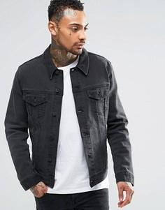 Черная выбеленная джинсовая куртка ASOS - Черный