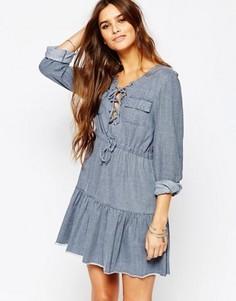 Платье из шамбре цвета индиго Somedays Lovin Undercover - Синий
