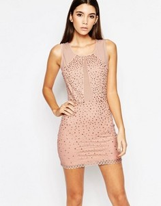 Платье мини с сетчатыми вставками и стразами WOW Couture - Розовый