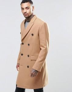 Полушерстяное двубортное пальто верблюжьего цвета ASOS - Рыжий