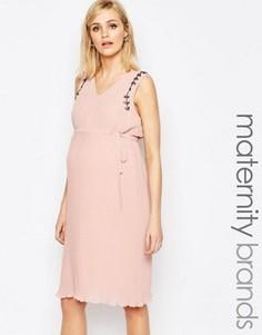 Платье с плиссированной юбкой Mamalicious - Розовый Mama.Licious