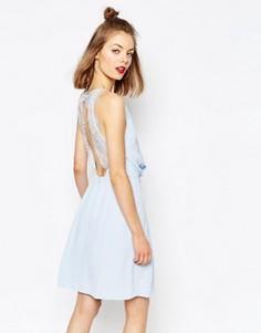 Платье мини с кружевной отделкой Samsoe & Samsoe Willow - Синий