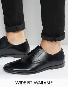 Черные кожаные туфли дерби ASOS - Доступна модель для широкой стопы - Черный