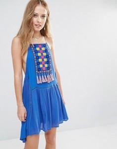 Платье с нагрудной вставкой и кисточками Piper Varacruz - Синий