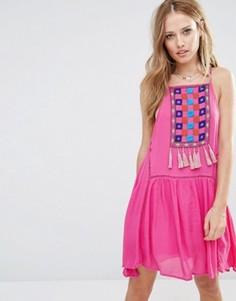 Платье с нагрудной вставкой и кисточками Piper Varacruz - Розовый