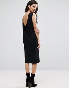 Платье миди без рукавов со свободным воротом сзади ASOS - Черный
