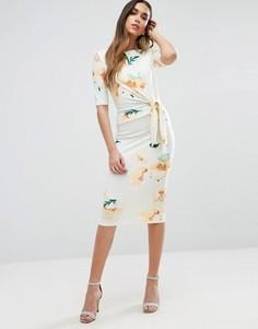 Платье-футляр миди с узлом и цветочным принтом ASOS - Мульти