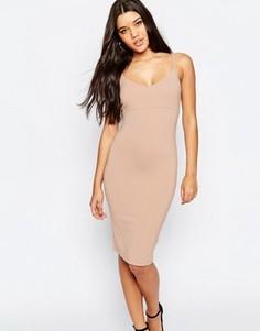 Облегающее платье миди на бретельках ASOS - Розовый