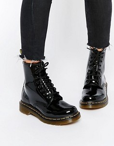 Лакированные ботинки с 8 парами люверсов Dr Martens Modern Classics 1460 - Черный