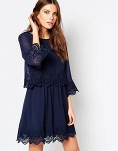 Двухслойное платье мини Vila - Темно-синий