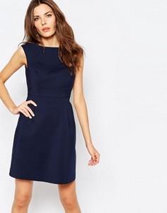 Структурированное короткое приталенное платье Vila - Темно-синий