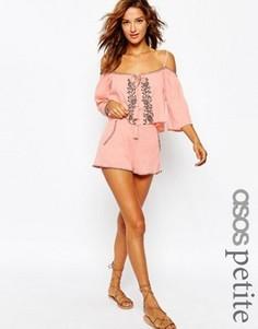Пляжные шорты с вышивкой ASOS PETITE Co-ord - Розовый