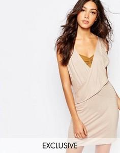 Платье с глубоким вырезом и запахом спереди Rokoko - Бежевый