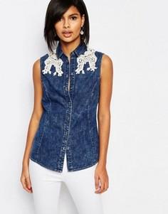 Джинсовая рубашка без рукавов с кружевной отделкой Vero Moda - Синий
